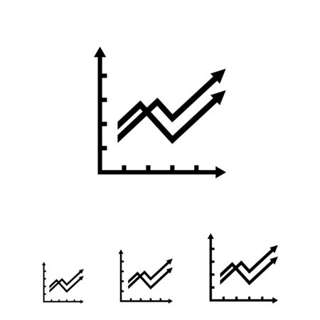 uptrend: Vector icon of two growing line graphs with arrows
