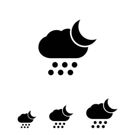 crescent: Icon of cloud with falling hailstones and crescent moon