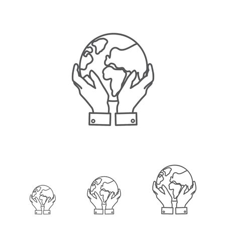 hands holding earth: Icon of man hands holding Earth globe