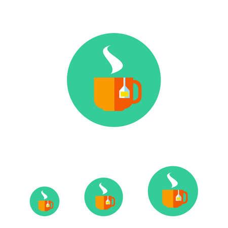 tea bag: Icon of hot tea cup with tea bag