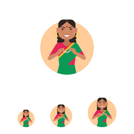 bindi: Female character, portrait of smiling Indian woman holding necklace Illustration
