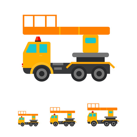 hydraulic platform: Multicolored vector icon of yellow industrial elevator