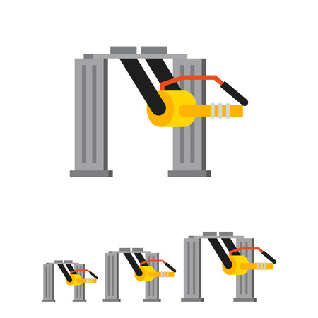 perforating: Multicolored vector icon of industrial equipment. Machine tooling unit
