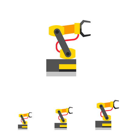obody: Multicolored vector icon of industrial equipment. Manipulating industrial robot