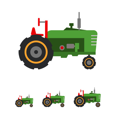 movers: Multicolored vector icon of green industrial tractor