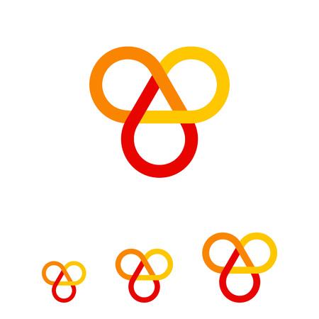 auspicious: Multicolored vector icon of infinite knot, one of eight auspicious symbols