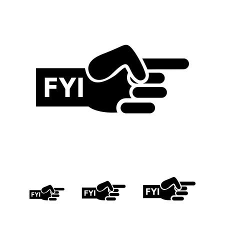 dedo indice: Vector icono de la mano humana con señalar el dedo índice y FYI inscripción