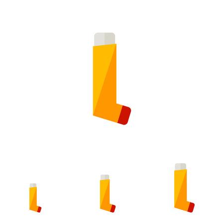 Multicolores icône plate d'inhalateur orange pour les asthmatiques