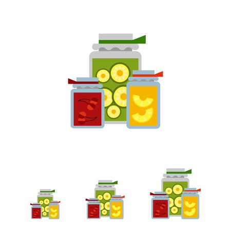 Multicolores icône vecteur des pots de confiture avec étiquette et papier couvertures