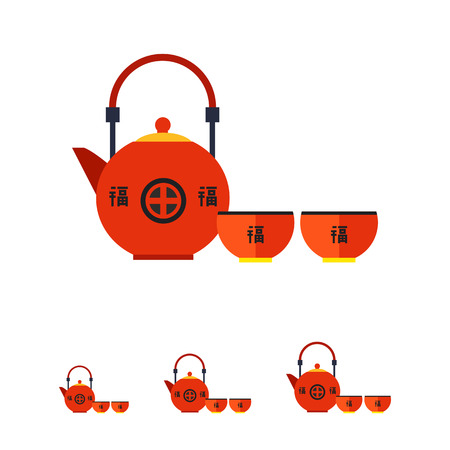 oolong: Image of traditional Japanese red tea set consisting of teapot and two cups