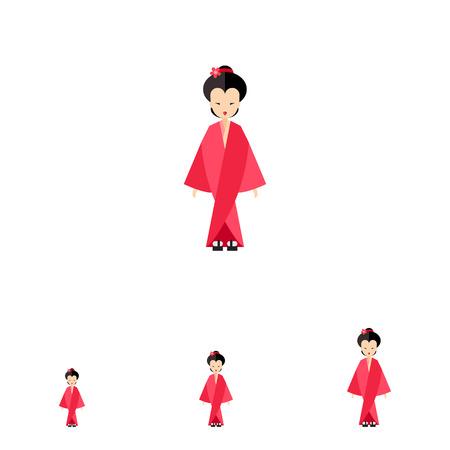 japanese woman: Image of Japanese woman wearing bright rose kimono and geta