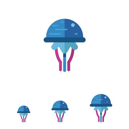 poison sea transport: Multicolored vector icon of blue cartoon jellyfish
