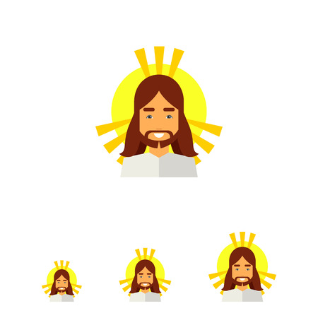 radiance: Icon of smiling Jesus Christ, son of God, with golden nimbus and radiance around his head