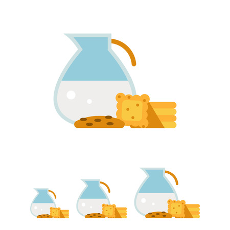 milk and cookies: Multicolored vector icon of glass jug with milk and cookies