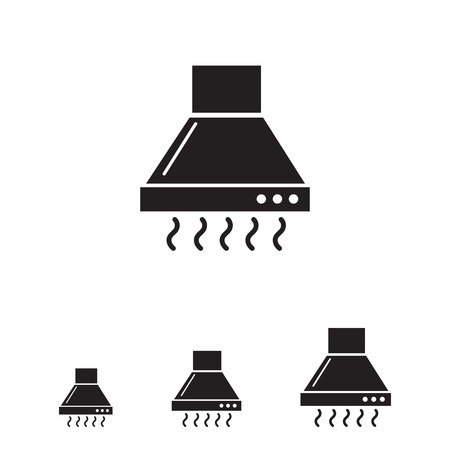 Vector icon of operating kitchen hood silhouette