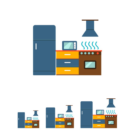 steam cooker: Icon of kitchen interior including fridge, cooker with oven and hood, cupboard, microwave