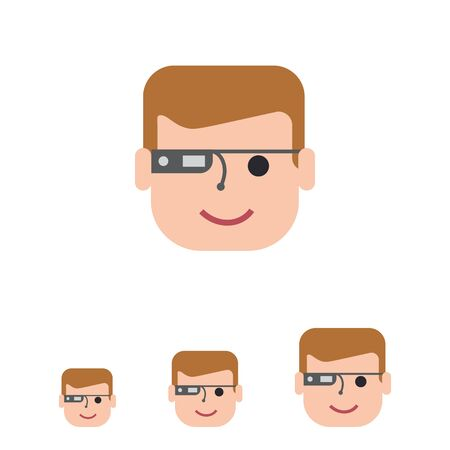 smart: Vector icon of man wearing smart glasses Stock Photo