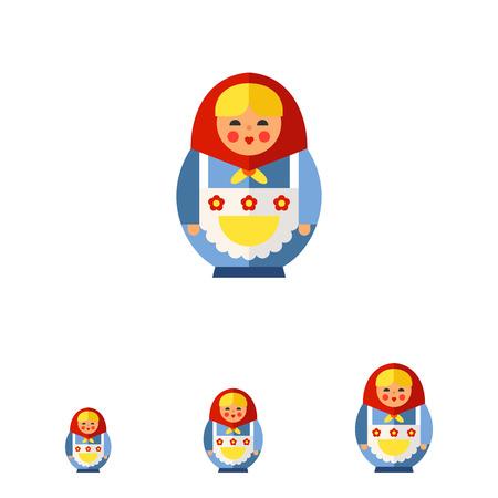 russian doll: Multicolored vector icon of Russian doll matryoshka Stock Photo
