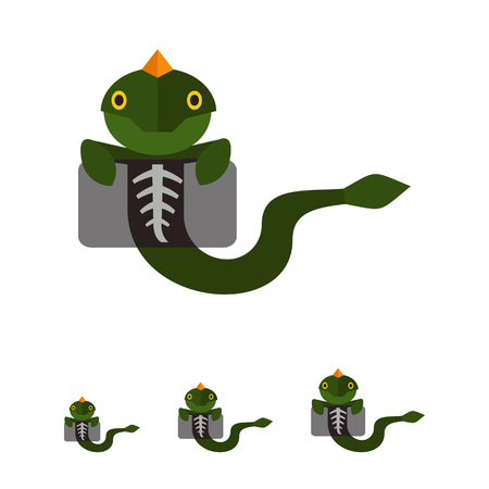 chest xray: Multicolored vector icon of lizard making chest X-ray