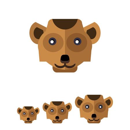 mongoose: Multicolored vector icon of brown meerkat head
