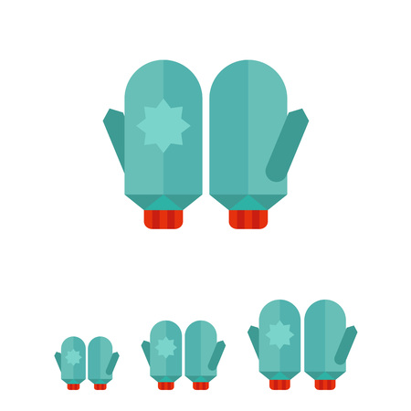 mittens: Multicolored vector icon of blue mittens with snowflake