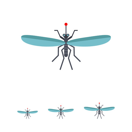 marsh: Multicolored vector icon ofmosquito and blood drop, top view Illustration