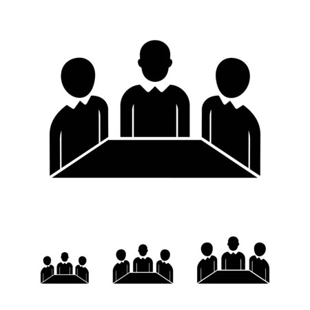 associates: Vector icon of negotiation process concept represented by businessmen silhouettes sitting at table