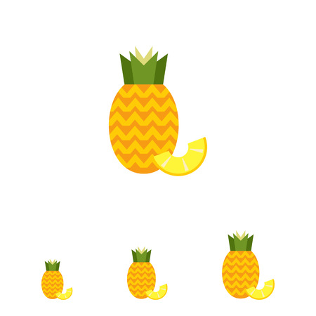 pineapple slice: Vector icon of ripe pineapple with pineapple slice