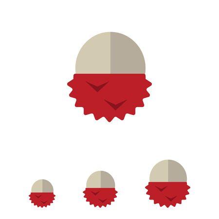 peeled: Vector icon of single peeled lychee fruit