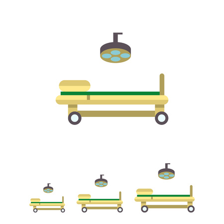 surgeon operating: Multicolored vector icon of operating table and lamp Illustration