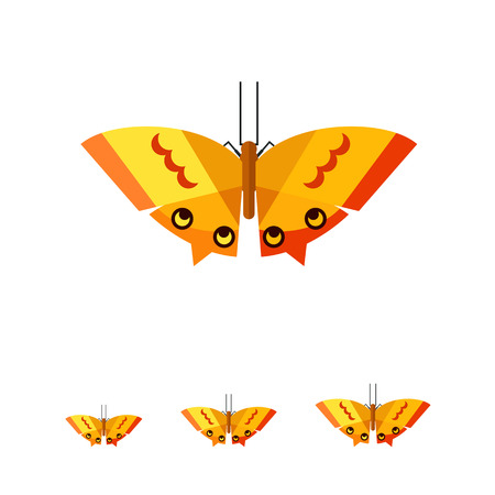 arthropod: Multicolored vector icon of orange butterfly with yellow stripes and spots