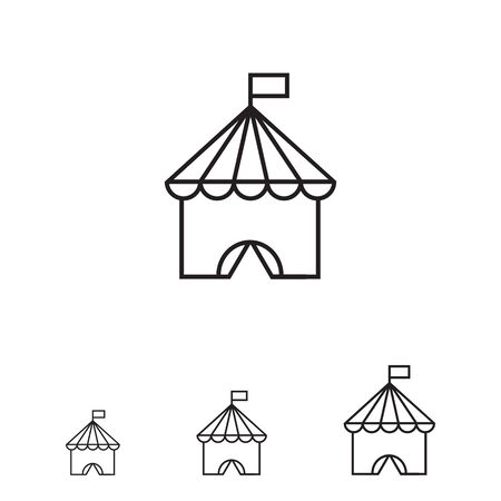 entertaining: Icon of circus tent with flag on top Illustration