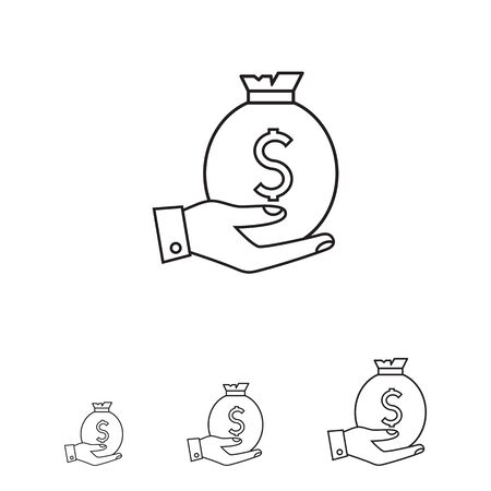 hand holding money bag: Icon of man hand holding money bag with dollar sign Illustration