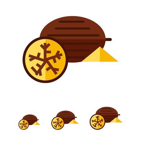 nutmeg: Multicolored vector icon of whole nutmeg and half
