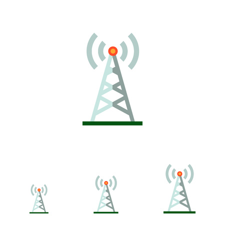 transmitting: Multicolored vector icon of radio tower transmitting signal