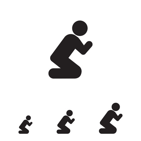 begging: Vector icon of man silhouette standing on knees and praying