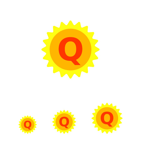 top class: Vector icon of yellow label with Q letter inside, isolated on white