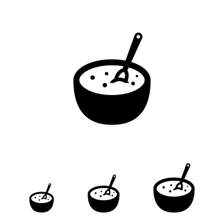 breakfast bowl: Vector icon of bowl with porridge and spoon