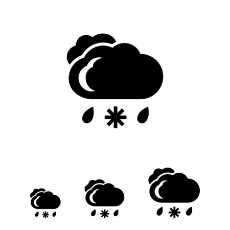 precipitation: Icon of clouds with falling snowflake and raindrops