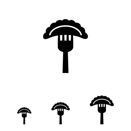 cooked: Vector icon of cooked ravioli on fork Illustration