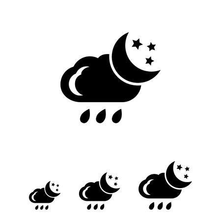 crescent moon: Icon of cloud with falling raindrops, crescent moon and stars Illustration