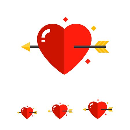 fourteenth: Multicolored vector icon of heart with love arrow