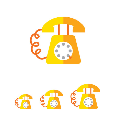turn dial: Icon of retro telephone with dialing disk