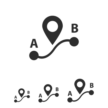 point: Icon of route from point A to point B with map pointer sign