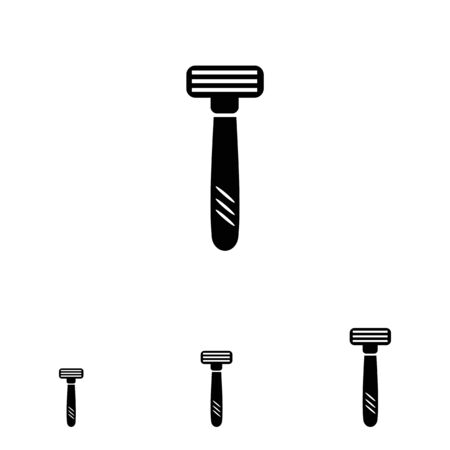 blades: Vector icon of safety razor with tree blades