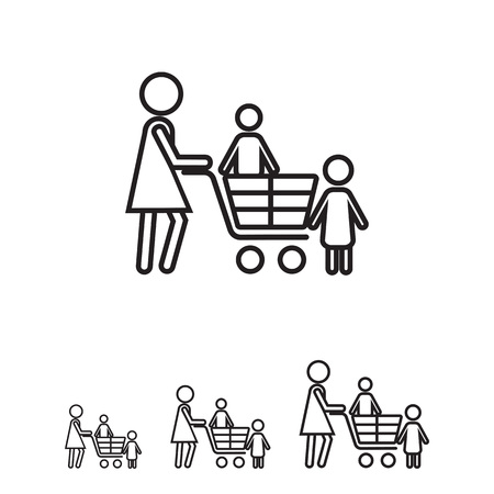 woman shopping cart: Icon of woman silhouette with children and shopping cart