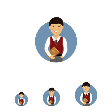 waistcoat: Male character, portrait of smiling Asian schoolboy holding book