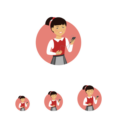 medium length: Female character, portrait of smiling Asian schoolgirl holding smartphone with headphones