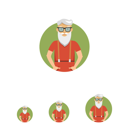 pockets: Male character, portrait of senior man with beard, wearing glasses, standing with hands in pockets Illustration