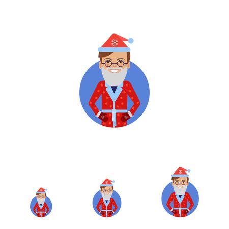 fake: Male character, portrait of smiling man wearing Santa costume and fake beard Illustration